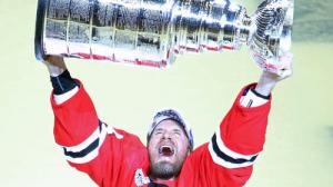 Kimmo Timonen in a moment of triumph, but where is our Cup?