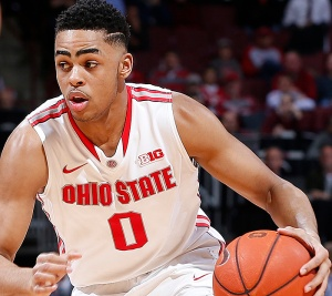 Ohio State Buckeyes guard D'Angelo Russell (0) drives to the basket in the first half of the college basketball game between the Ohio State Buckeyes and the Maryland Terrapins at Value City Arena in Columbus, Thursday evening, January 29, 2015. As of half time the Ohio State Buckeyes led the Maryland Terrapins 34 - 26. (The Columbus Dispatch / Eamon Queeney)