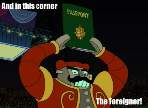 I'm not from here! I have my own customs! Look at my crazy passport!